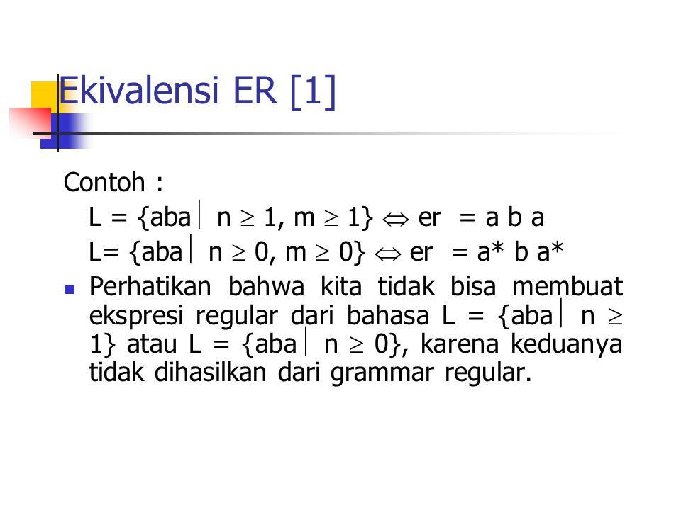 Ekivalensi ER [1] Contoh : L = {aba n  1, m  1}  er = a b a